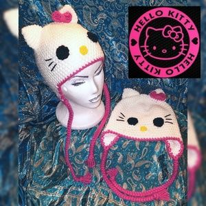 Hello Kitty Accessories New Handmade Crocheted Hat Beanie Yos
